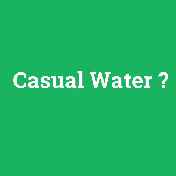 Casual Water, Casual Water nedir ,Casual Water ne demek