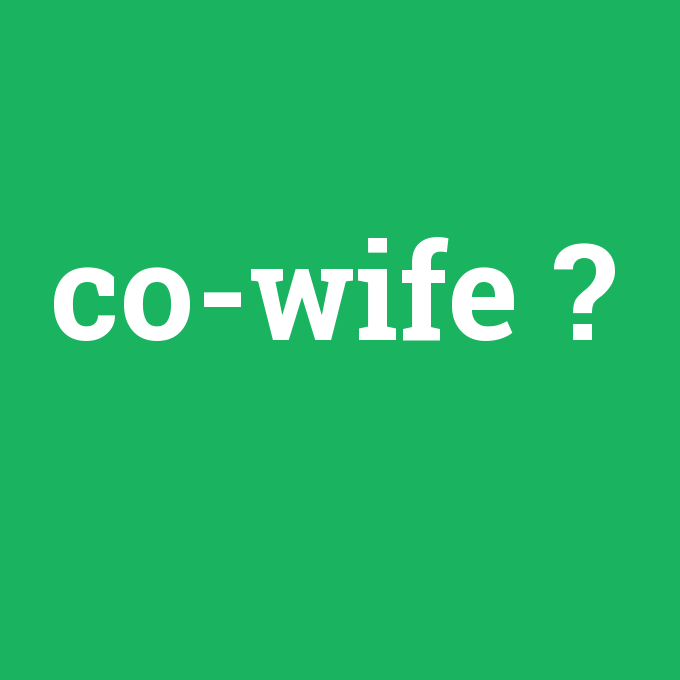 co-wife, co-wife nedir ,co-wife ne demek